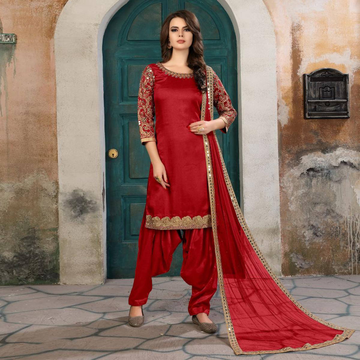Desiring Red Colored Partywear Embroidered Art Silk Salwar Suit