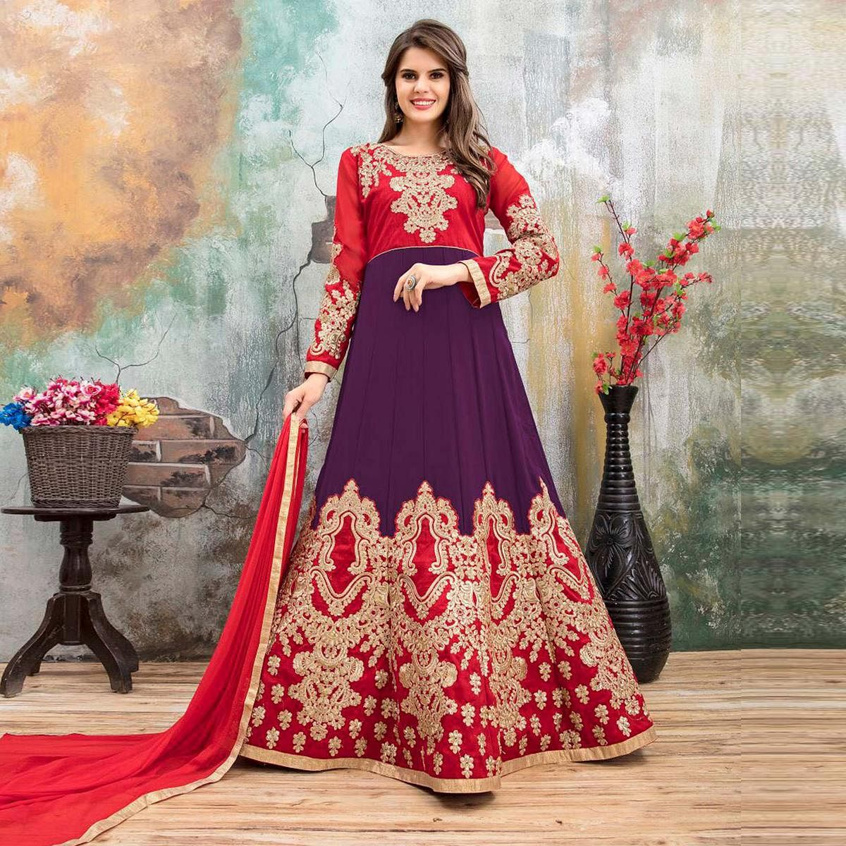 Amazing Red-Purple Colored Partywear Embroidered Georgette Anarkali Suit