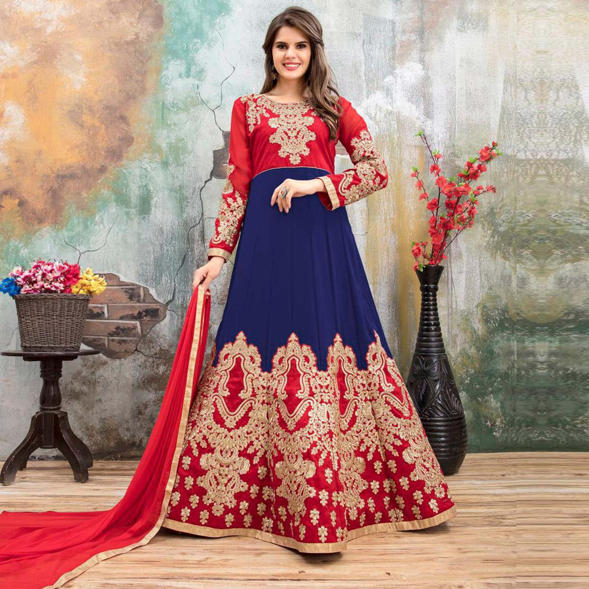 Mesmerising Red-Blue Colored Partywear Embroidered Georgette Anarkali Suit