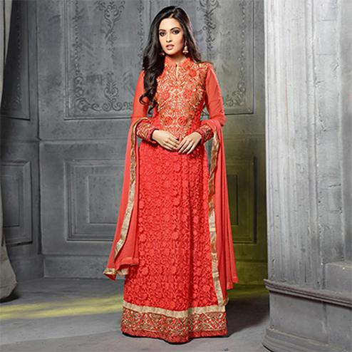 Orange Net Embroidered Salwar Suit