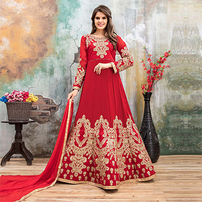 Dazzling Red Colored Partywear Embroidered Georgette Anarkali Suit