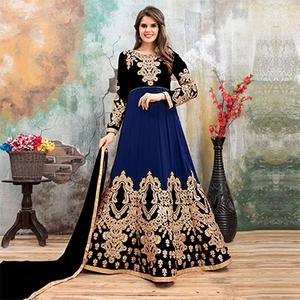 Unique Black-Navy Blue Colored Partywear Embroidered Georgette Anarkali Suit