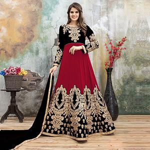 Demanding Black-Red Colored Partywear Embroidered Georgette Anarkali Suit
