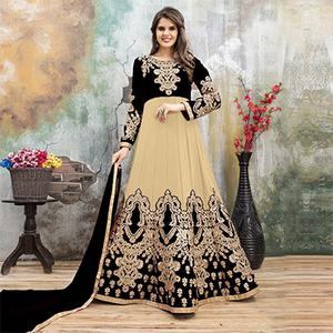 Special Black-Beige Colored Partywear Embroidered Georgette Anarkali Suit