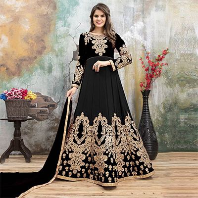 Bold Black Colored Partywear Embroidered Georgette Anarkali Suit