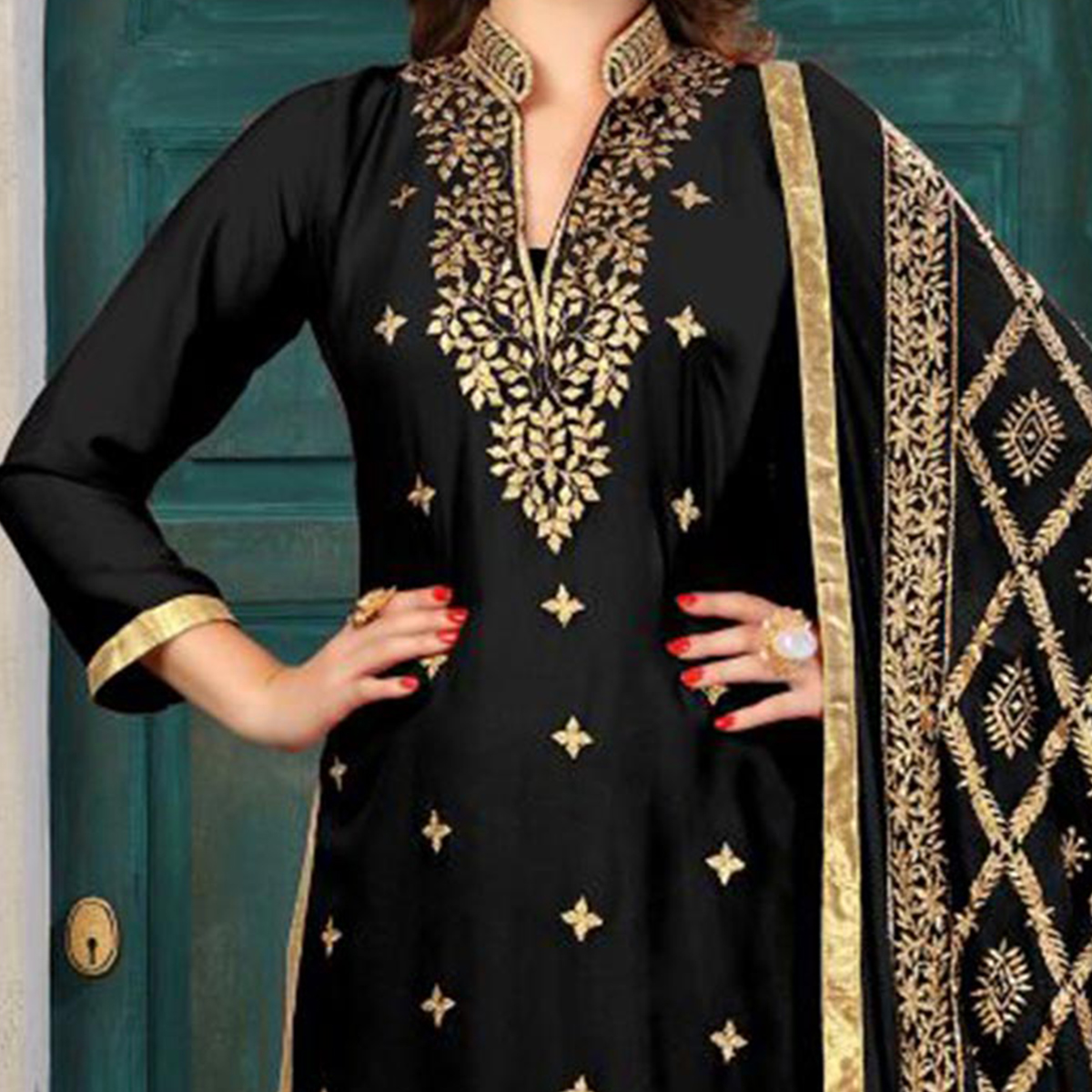 Beautiful Black Colored Partywear Embroidered Georgette Suit