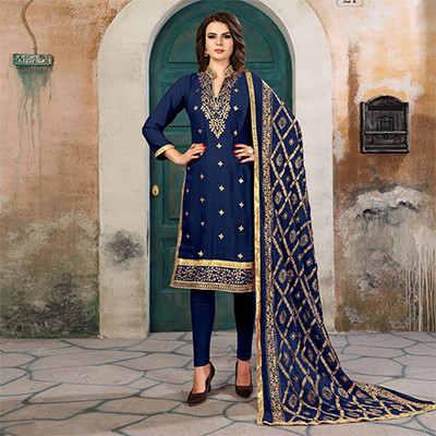 Groovy Navy Blue Colored Partywear Embroidered Georgette Suit