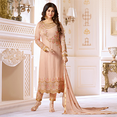 Majestic Light Peach Colored Designer Partywear Embroidered Georgette Suit
