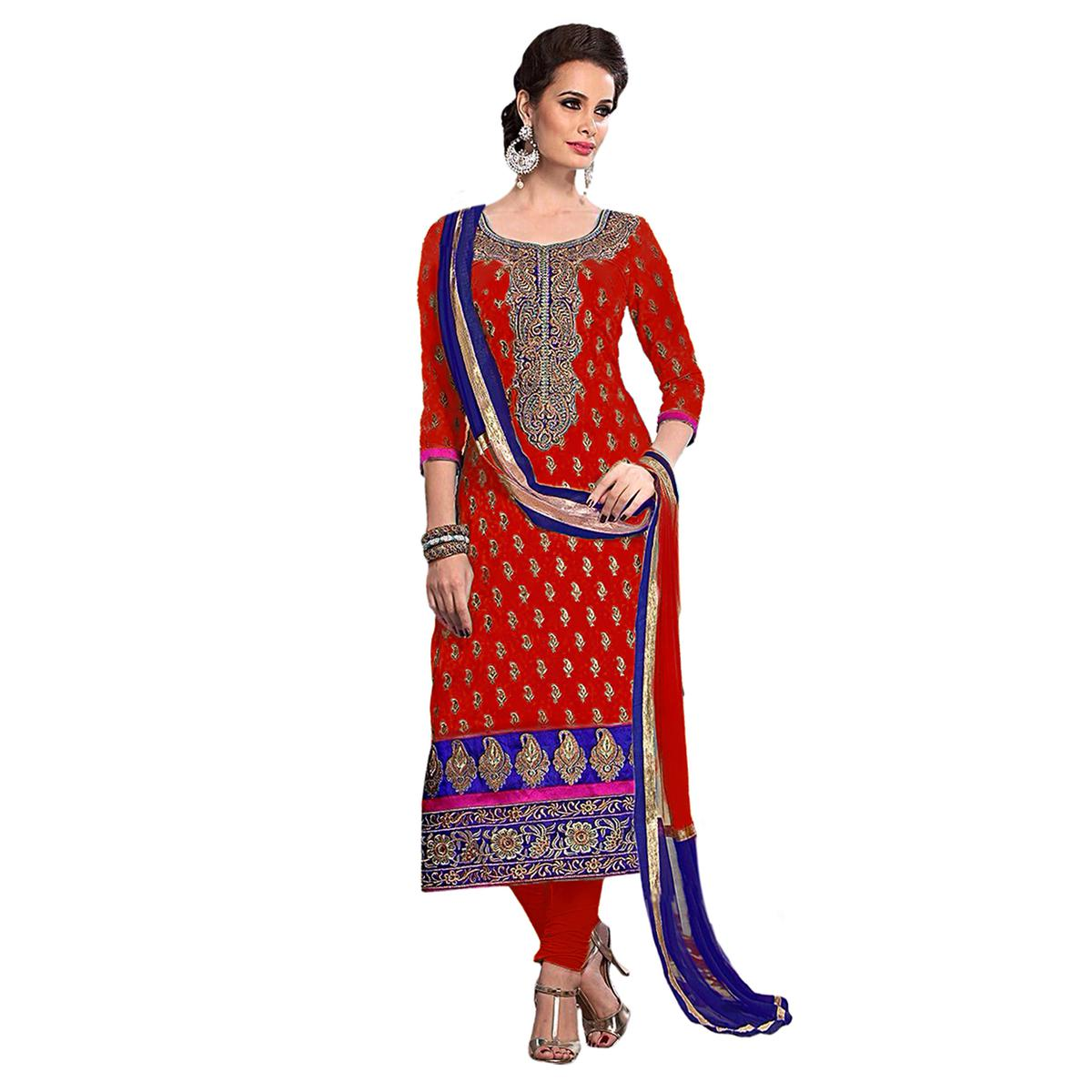 Red Chanderi Embroidered Dress Material