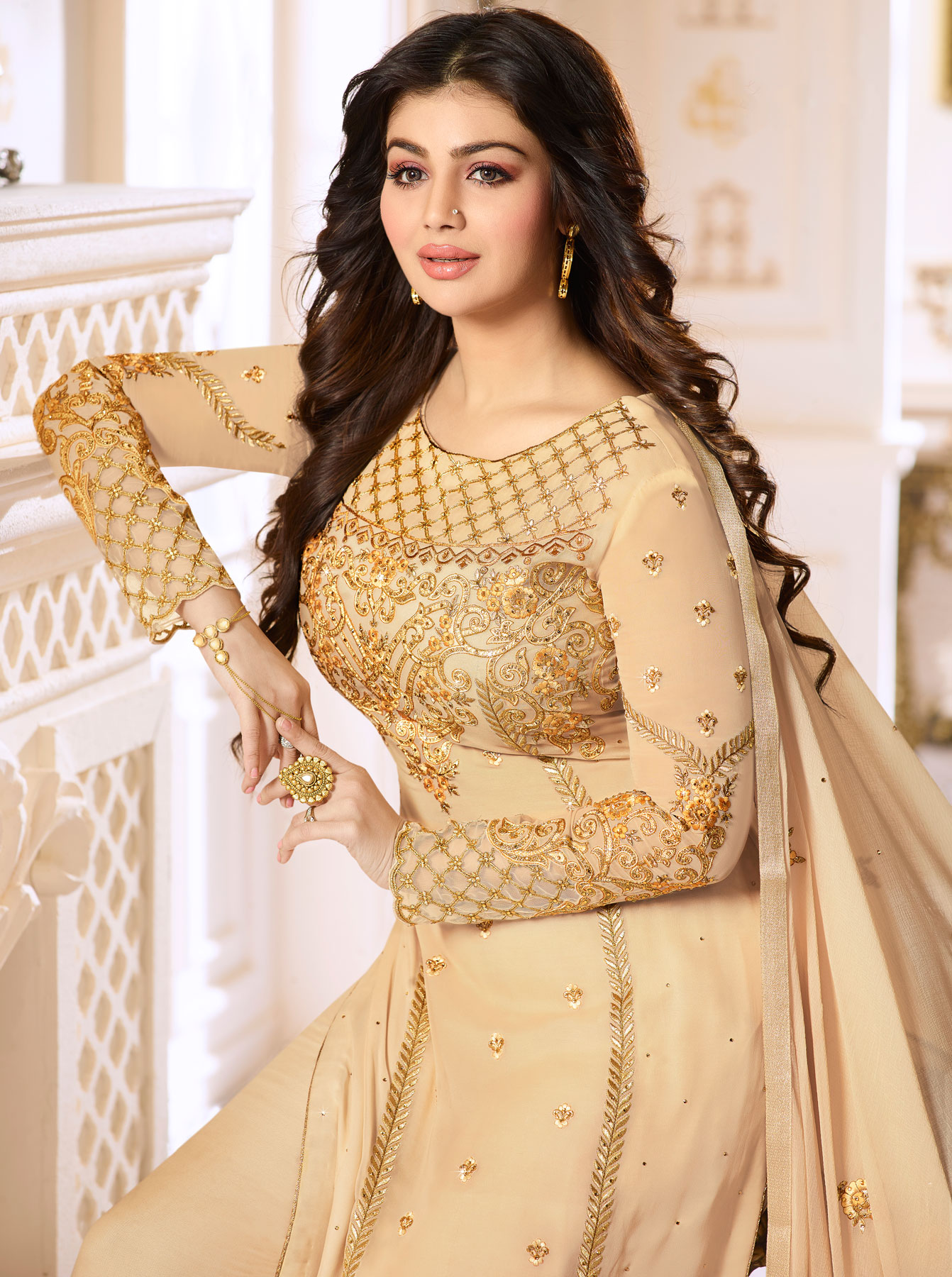 Beautiful Beige Colored Designer Partywear Embroidered Georgette Suit