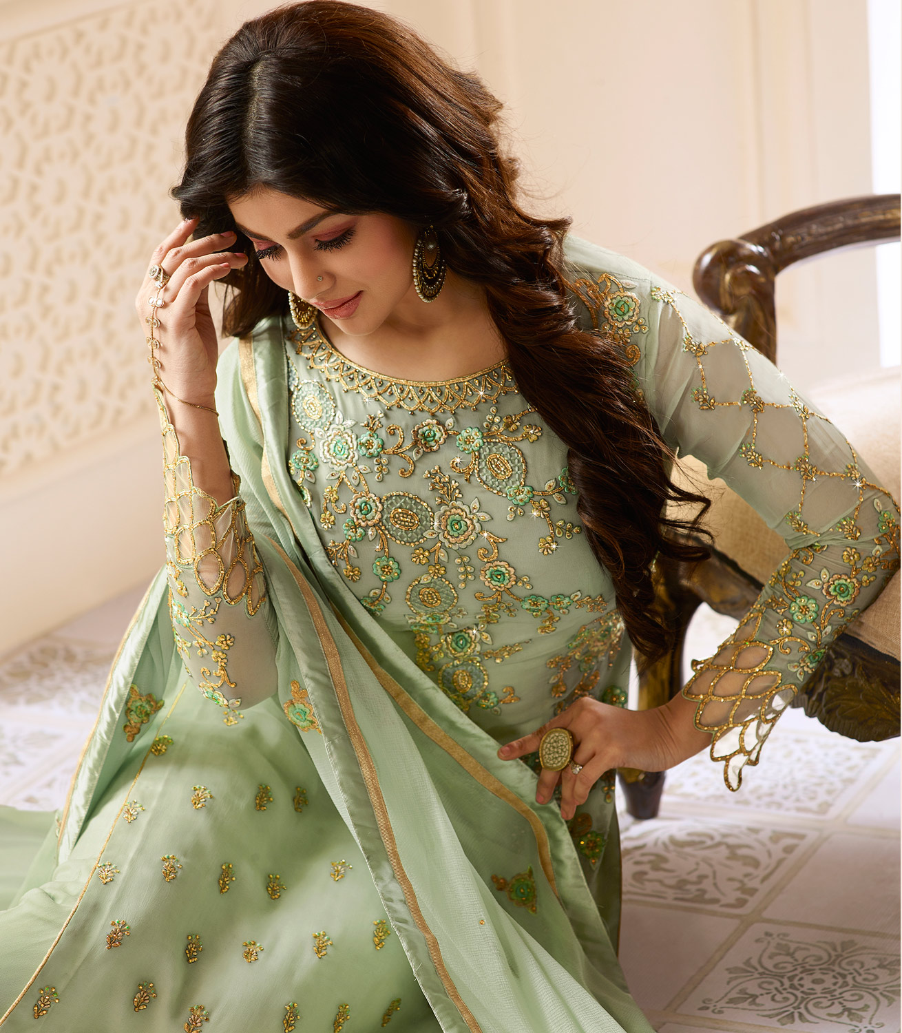 Attractive Mint Green Colored Designer Partywear Embroidered Georgette Suit