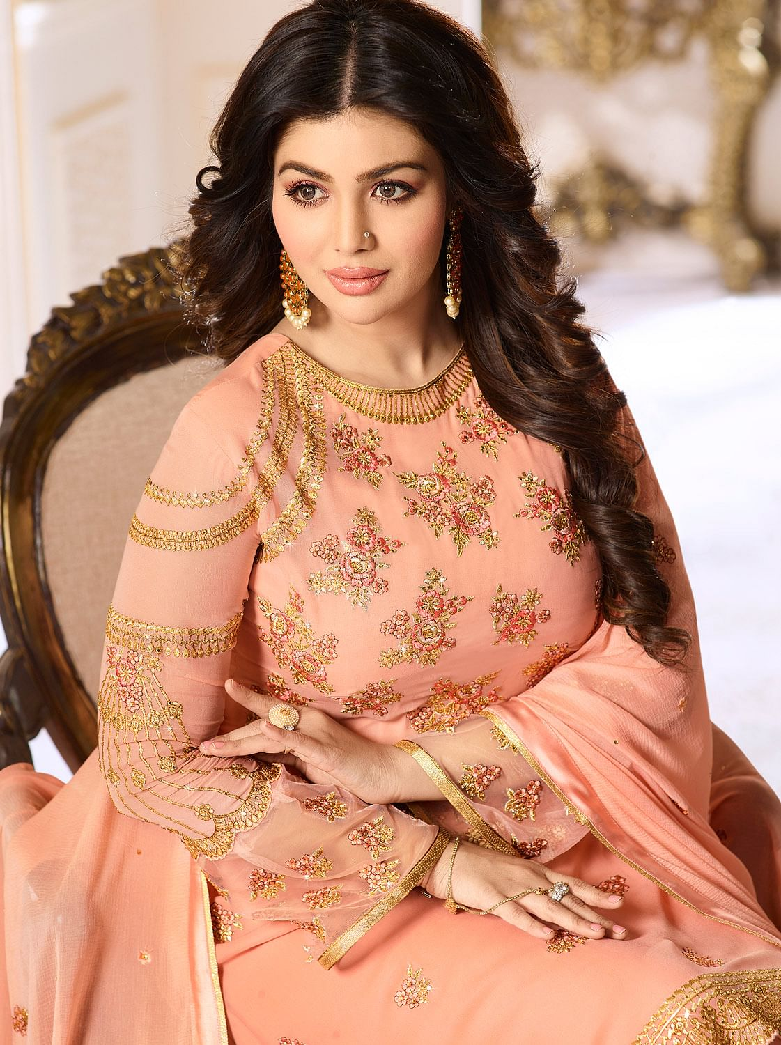 Eye-Catching Peach Colored Designer Partywear Embroidered Georgette Suit