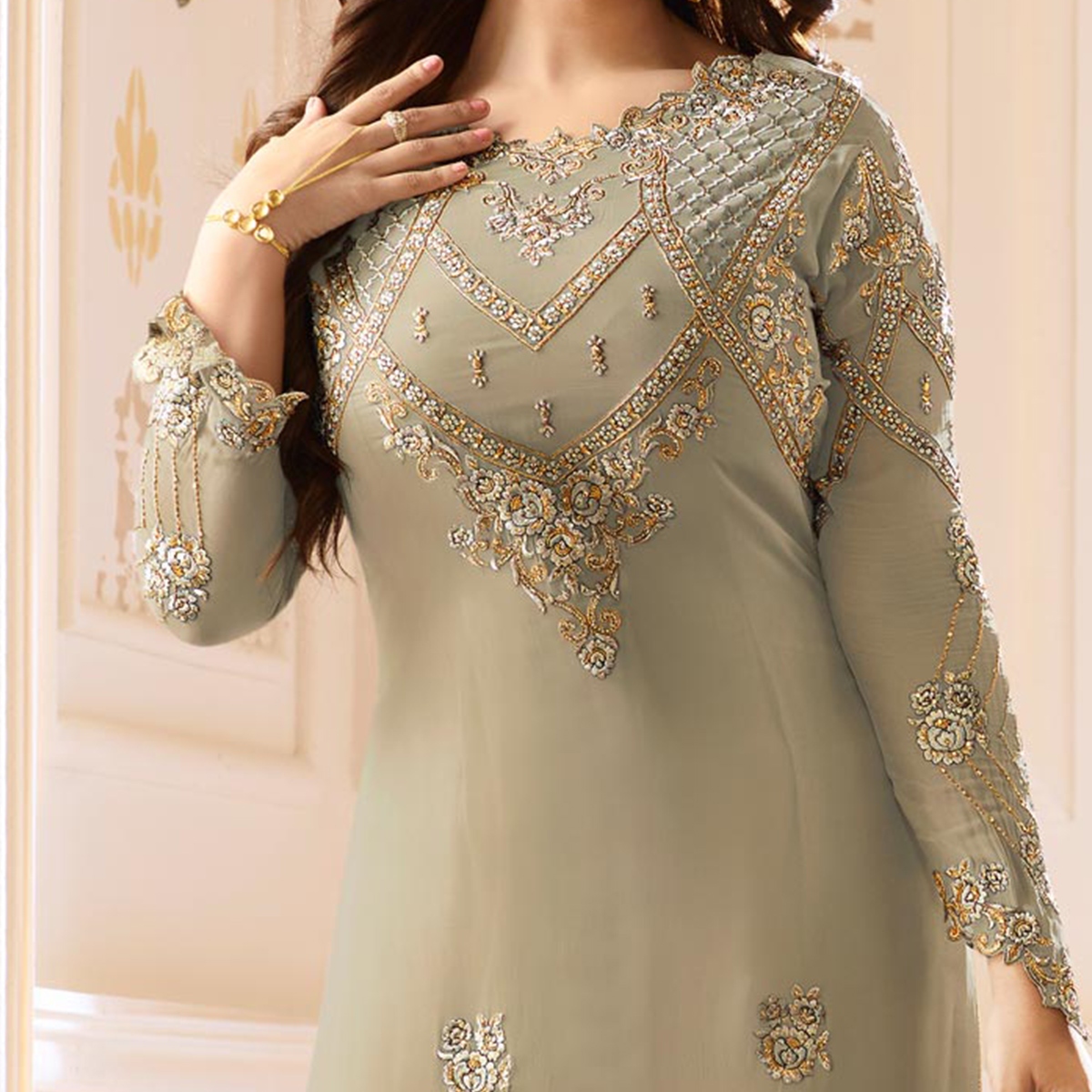 Stylish Gray Colored Designer Partywear Embroidered Georgette Suit