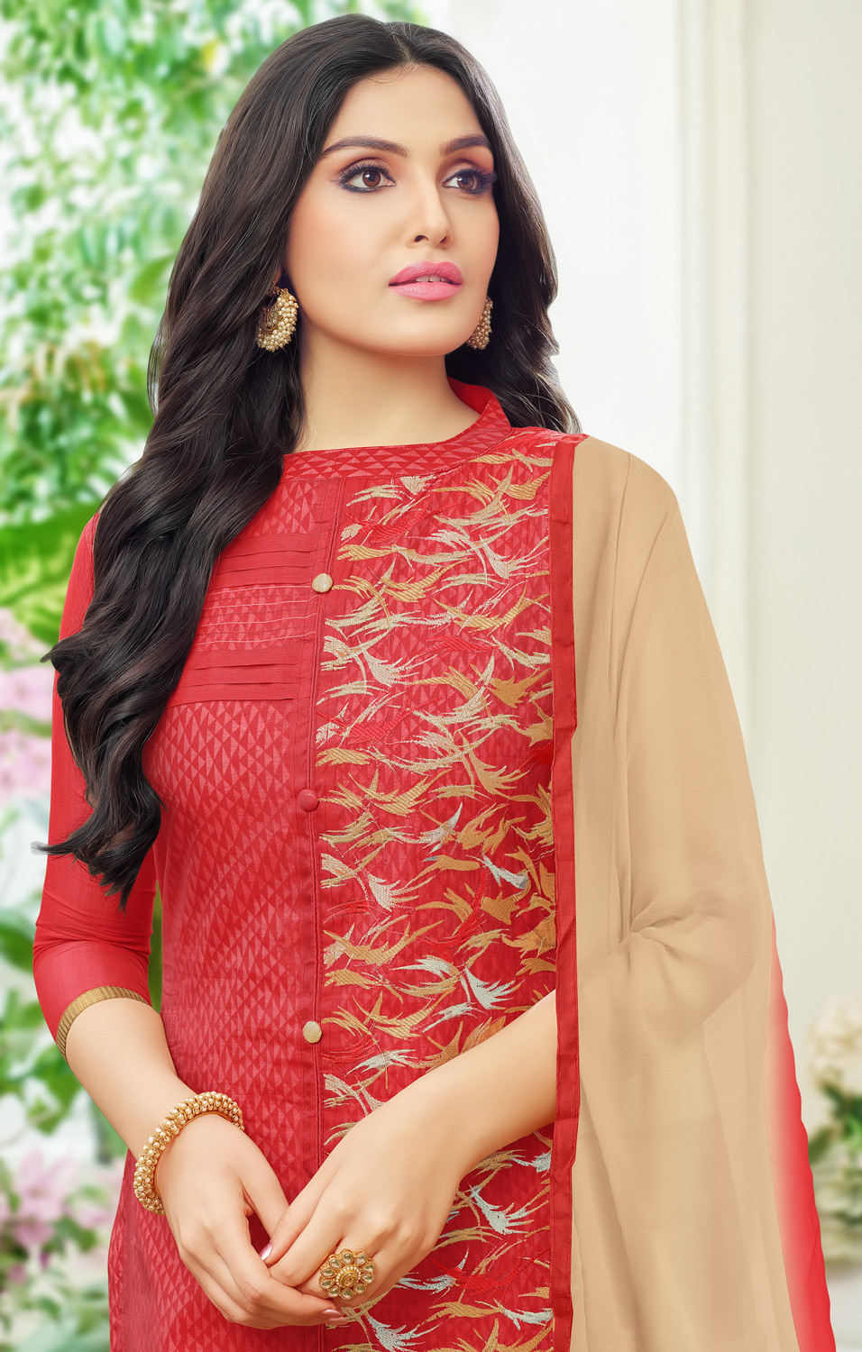 Elegant Red Colored Partywear Embroidered Chanderi Silk Dress Material