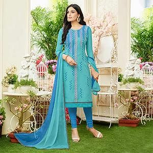 Glowing Sky Blue Colored Partywear Embroidered Chanderi Silk Dress Material