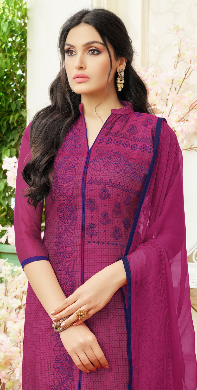 Groovy Magenta Colored Partywear Embroidered Chanderi Silk Dress Material