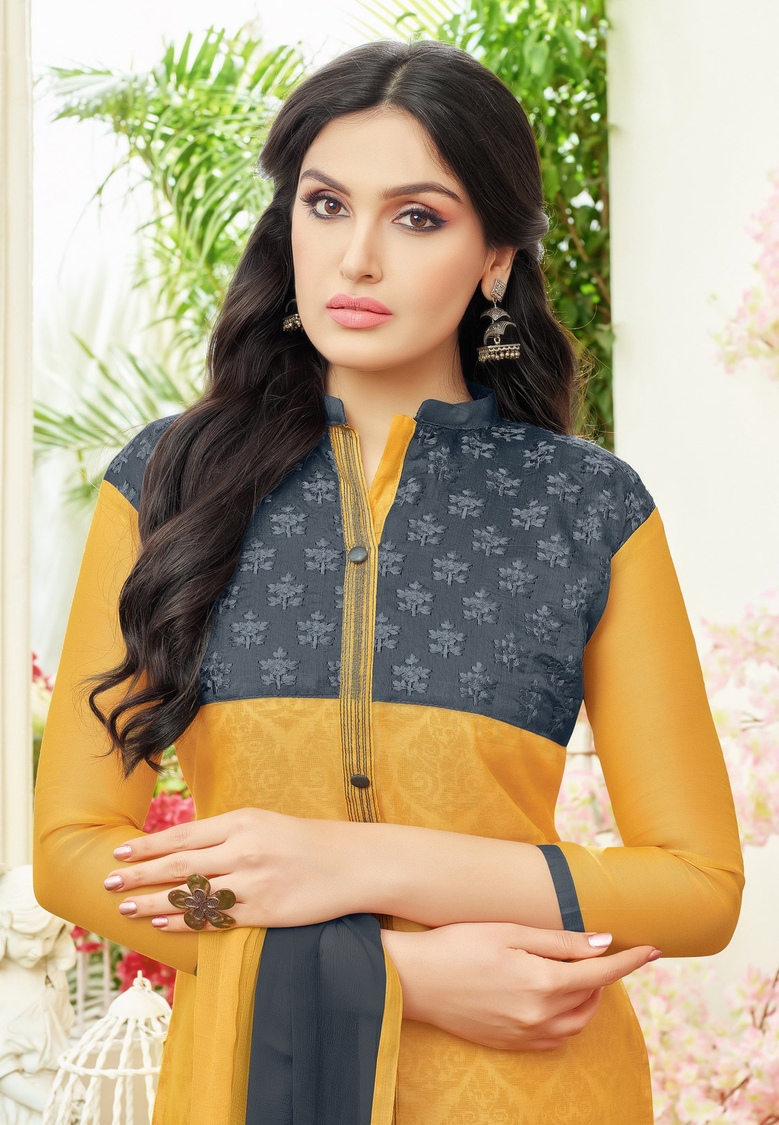 Trendy Yellow Colored Partywear Embroidered Chanderi Silk Dress Material