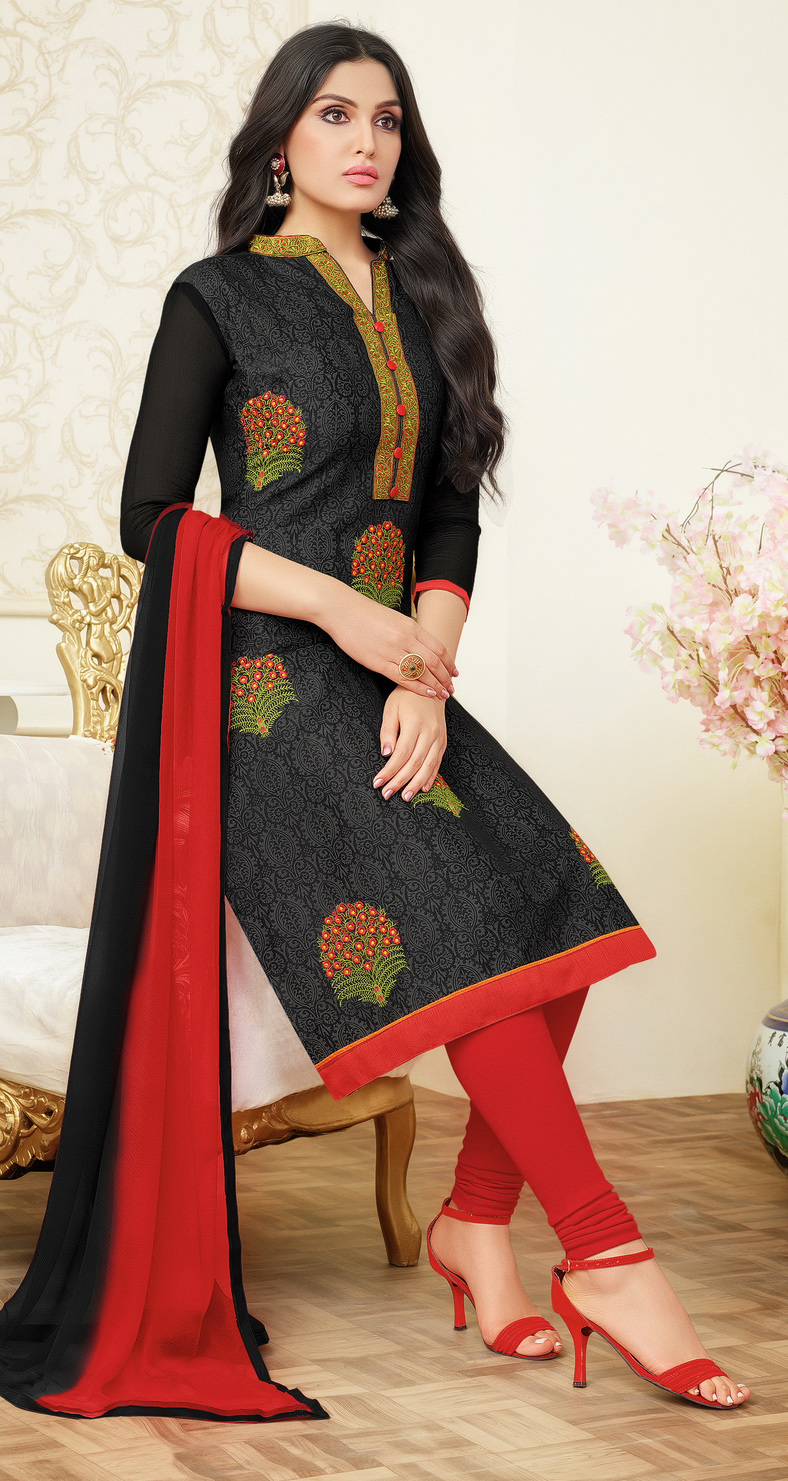 Desiring Black Colored Partywear Embroidered Chanderi Silk Dress Material