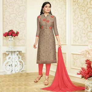 Pleasant Light Brown Colored Partywear Embroidered Chanderi Silk Dress Material