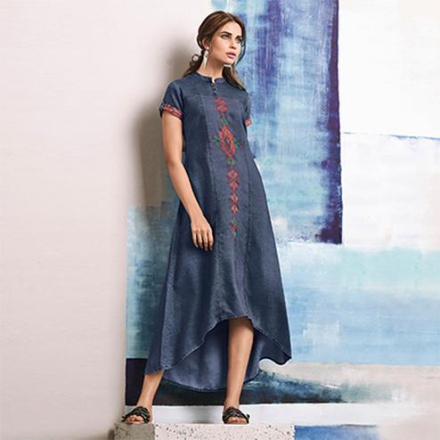 Smart Blue Colored Embroidered Casual Denim Kurti