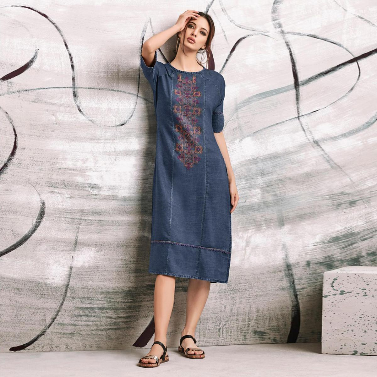 Cool Blue Colored Embroidered Casual Denim Kurti