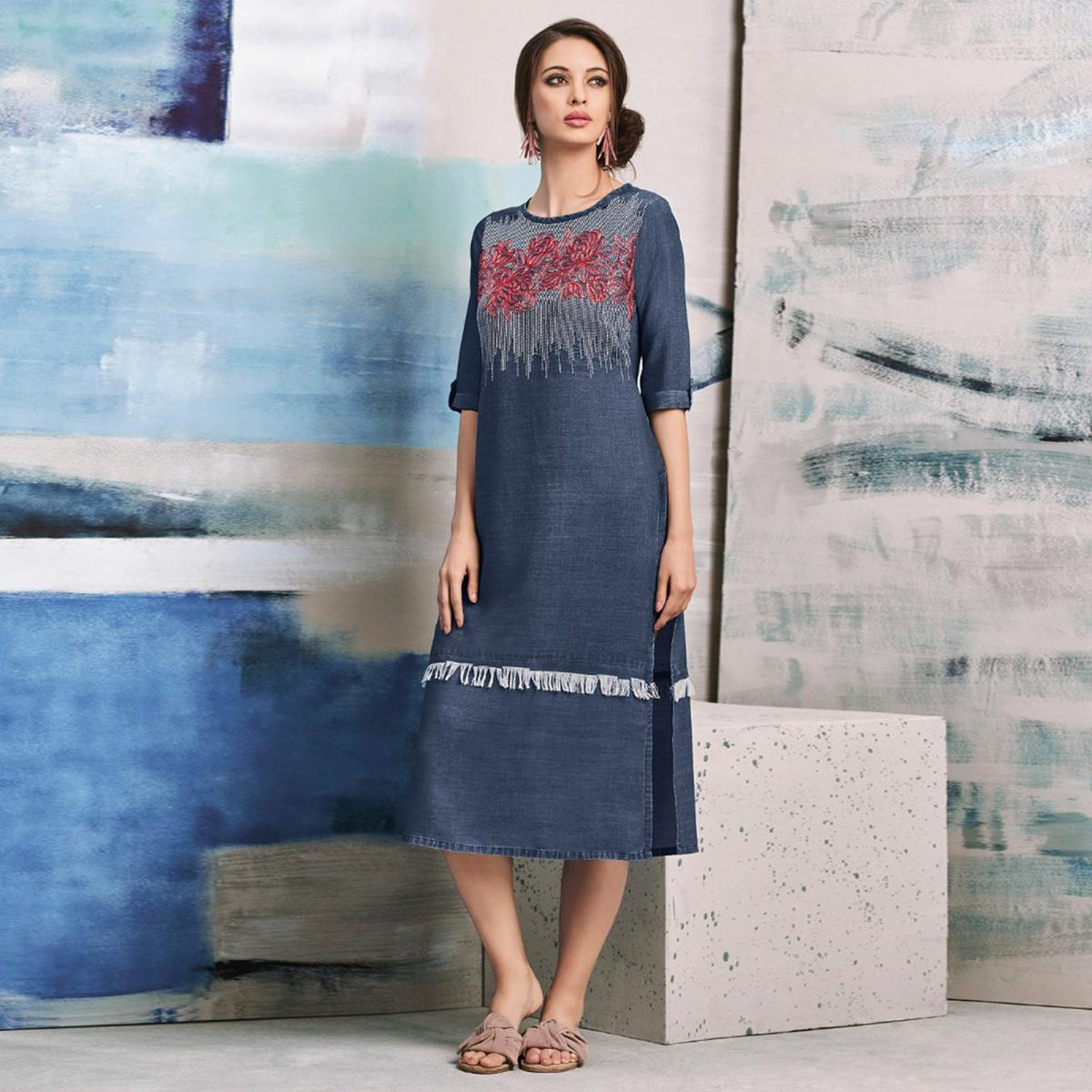 Classy Blue Colored Embroidered Casual Denim Kurti