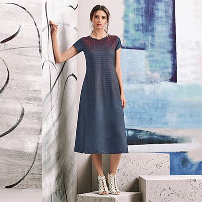 Flirty Blue Colored Embroidered Casual Denim Kurti