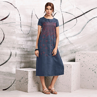 Naughty Blue Colored Embroidered Casual Denim Kurti