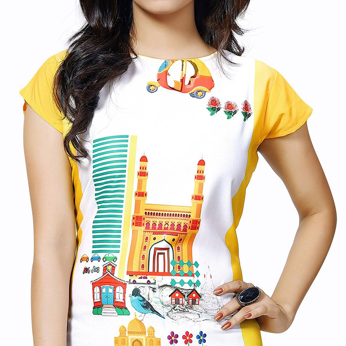 Yellow - White Casual Wear Printed Kurti