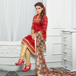 Red And Cream Chanderi Embroidered Dress Material