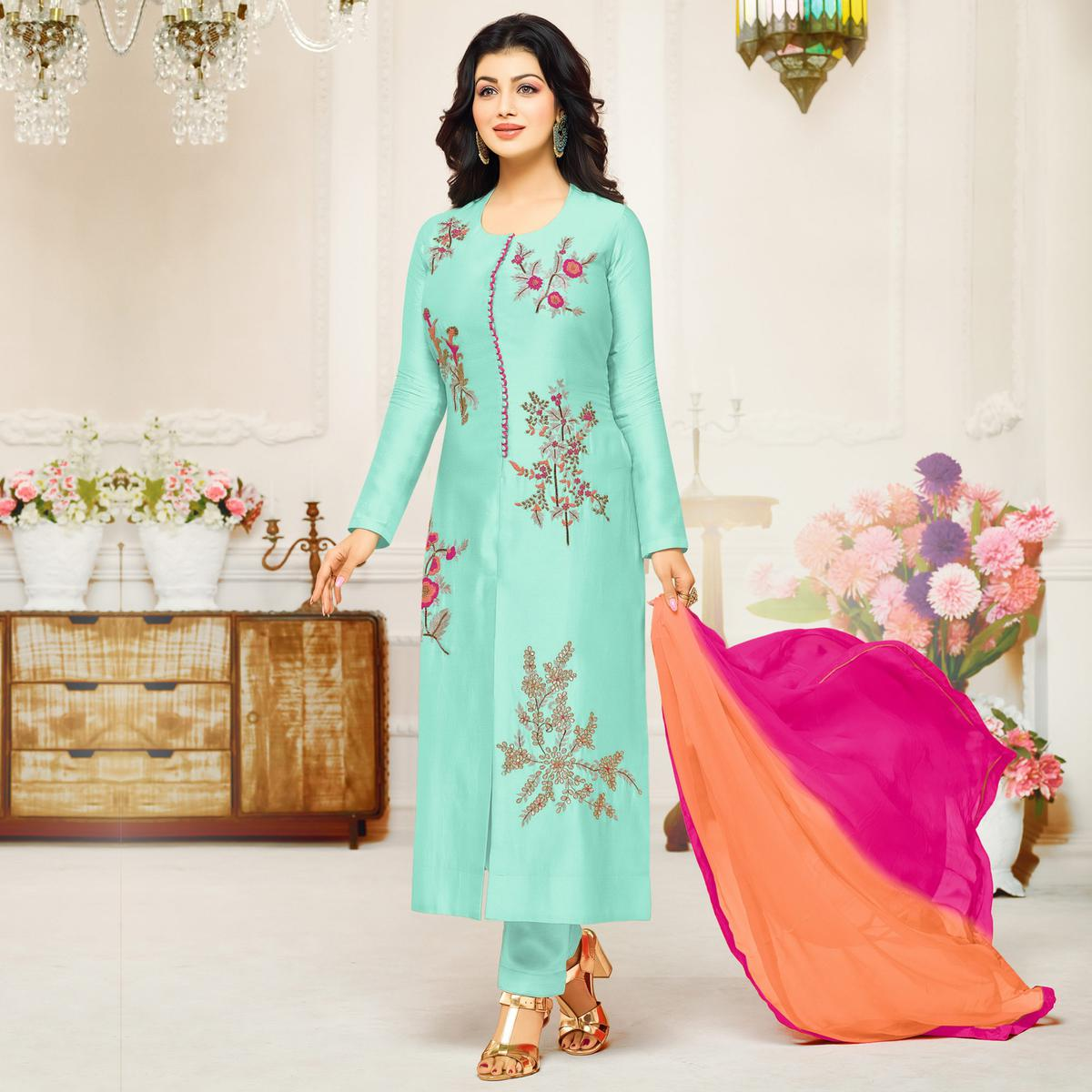 Eye-Catching Aqua Blue Colored Partywear Embroidered Cotton Suit