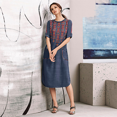 Moody Blue Colored Embroidered Casual Denim Kurti