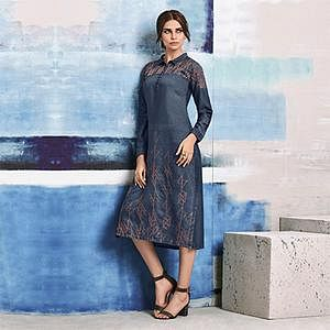Royal Blue Colored Embroidered Casual Denim Kurti