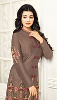 Bold Brown Colored Partywear Embroidered Cotton Suit