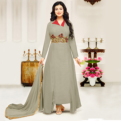 Groovy Gray Colored Partywear Embroidered Cotton Suit