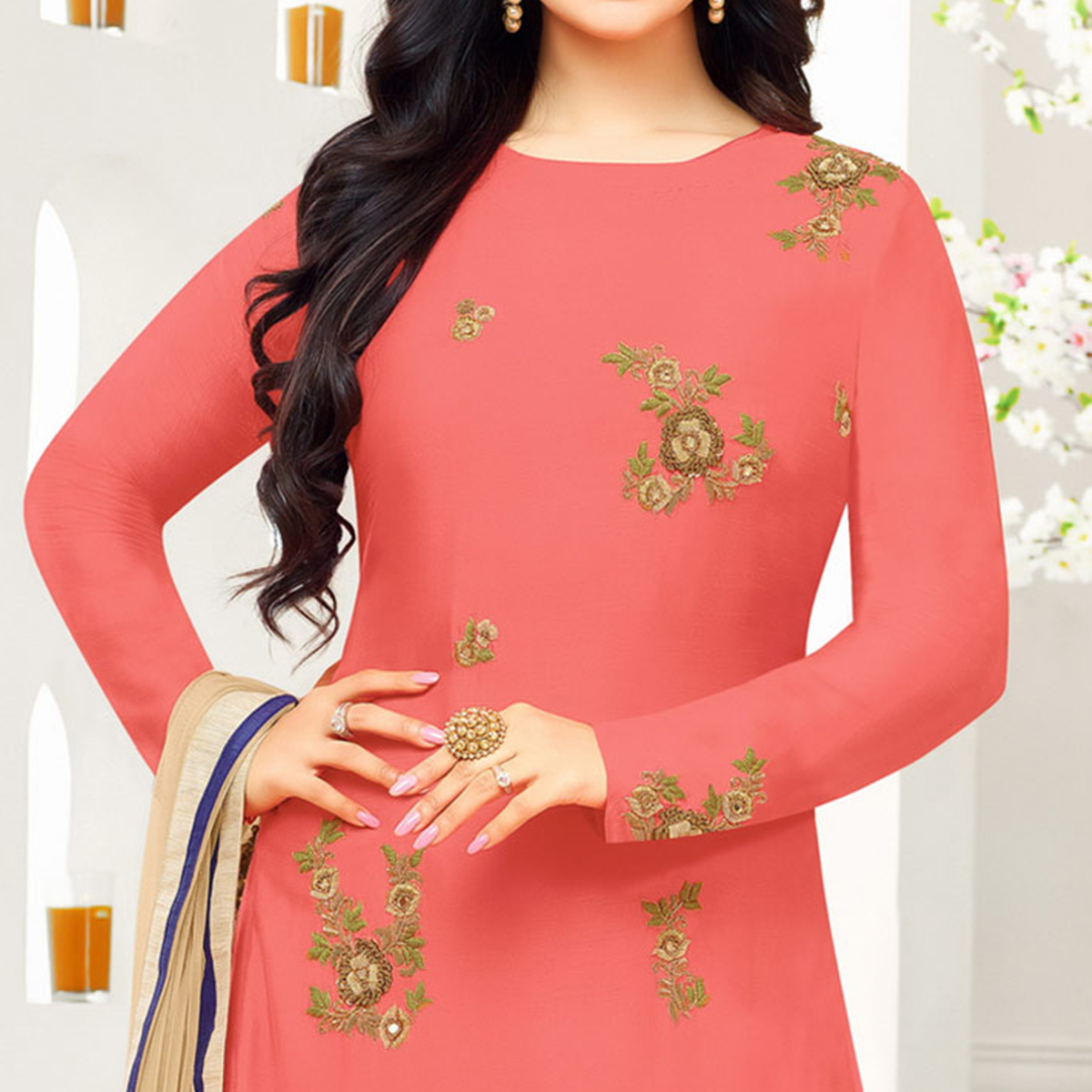 Perfect Peach Colored Partywear Embroidered Cotton Suit