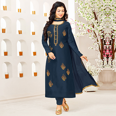 Naughty Navy Blue Colored Partywear Embroidered Cotton Suit