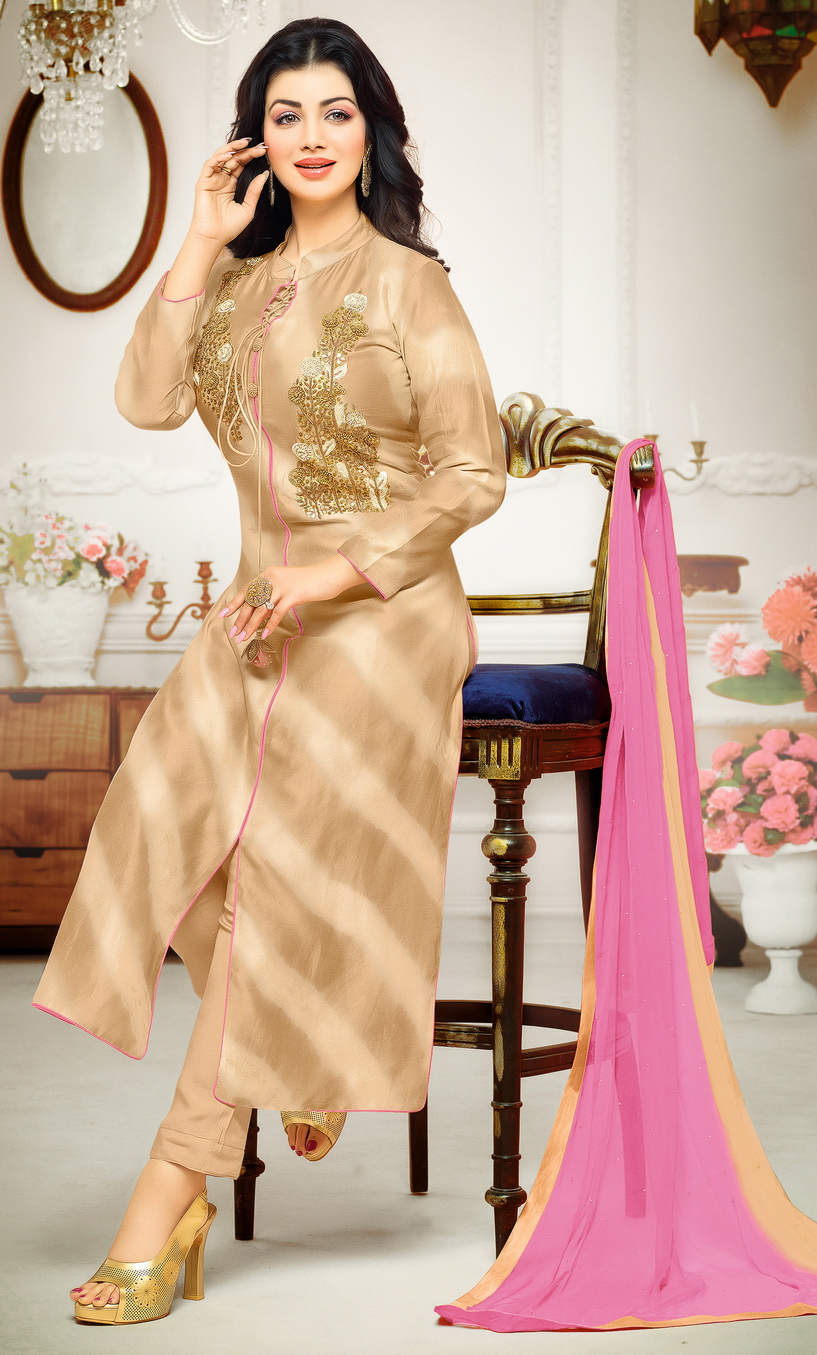 Blissful Beige Colored Partywear Embroidered Cotton Suit