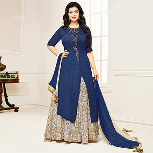 Beautiful Navy Blue-Beige Colored Partywear Embroidered Cotton Suit