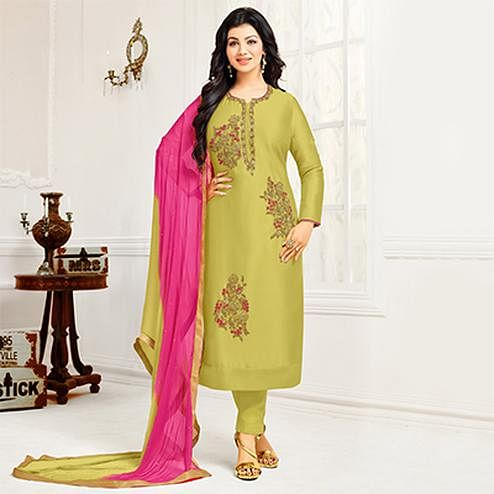Gorgeous Green Colored Partywear Embroidered Cotton Suit