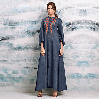 Trendy Colored Embroidered Casual Denim Kurti