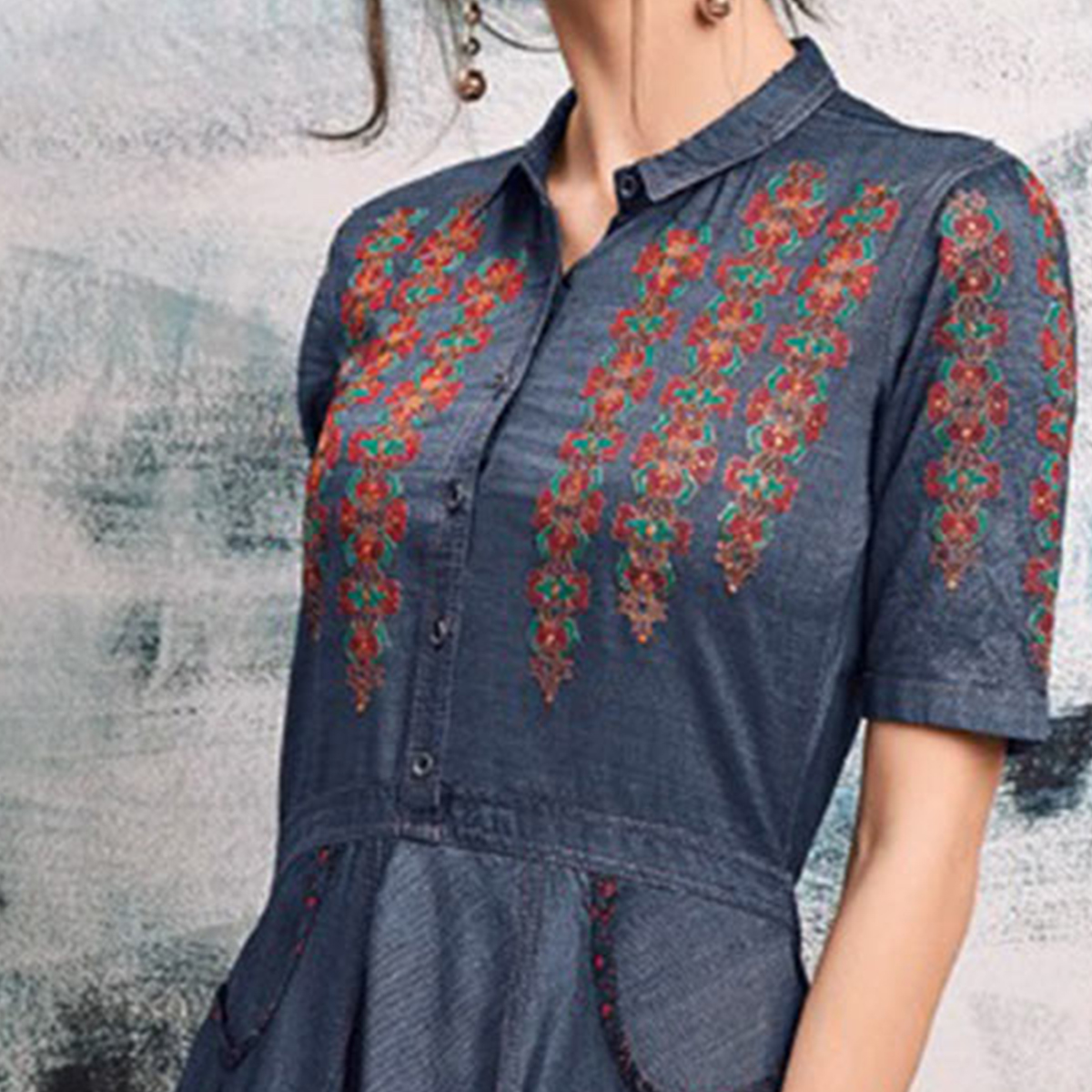 Stylish Colored Embroidered Casual Denim Kurti