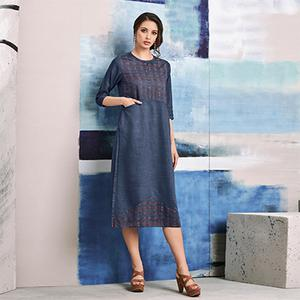 Bold Blue Colored Embroidered Casual Denim Kurti
