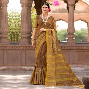Beautiful Brown Colored Festive Wear Embroidered Woven Banarasi Silk Saree
