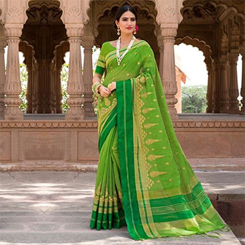 Glowing Green Colored Festive Wear Embroidered Woven Banarasi Silk Saree