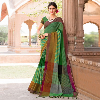 Refreshing Green-Brown Colored Festive Wear Embroidered Woven Banarasi Silk Saree