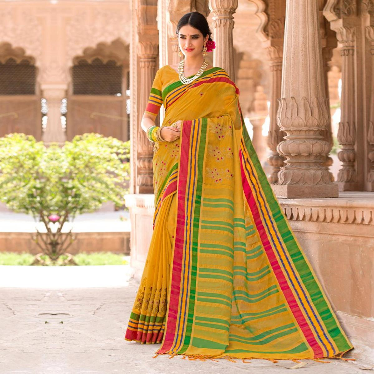 Mesmerising Yellow Colored Festive Wear Embroidered Woven Banarasi Silk Saree