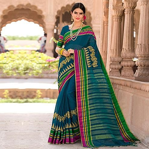 Elegant Rama Colored Festive Wear Embroidered Woven Banarasi Silk Saree