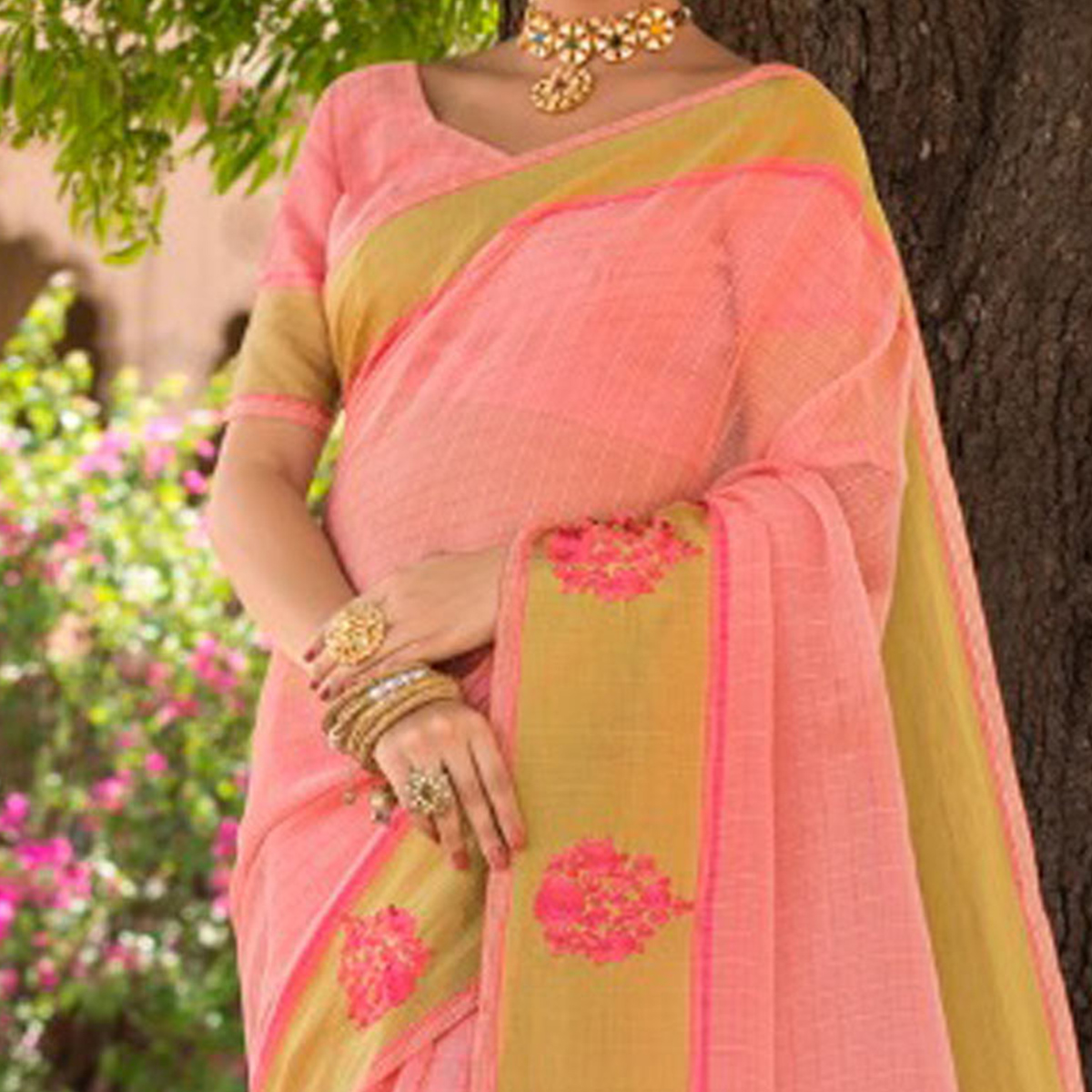 Awesome Pink Colored Festive Wear Embroidered Woven Banarasi Silk Saree