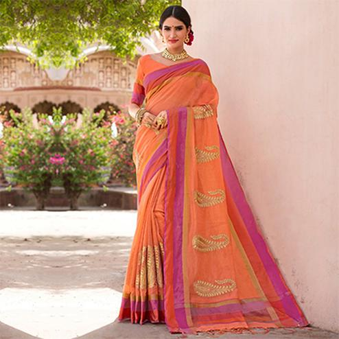 Trendy Orange Colored Festive Wear Embroidered Woven Banarasi Silk Saree